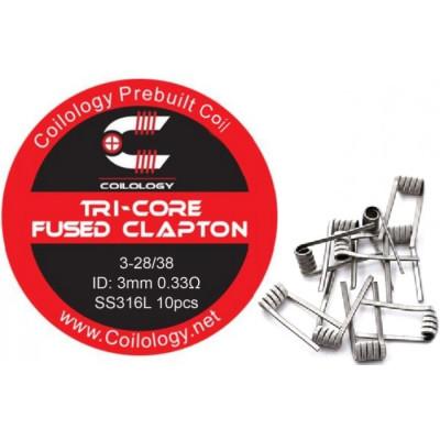 Coilology Tri-Core Fused Clapton předmotané spirálky SS316L - 0,33 ohm - 10 ks