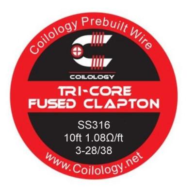 Coilology Tri-Core Fused Clapton odporový drát SS316 3-28/38 - 3 m