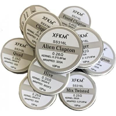 XFKM Clapton SS316L předmotané spirálky - 0,36 ohm - 10 ks