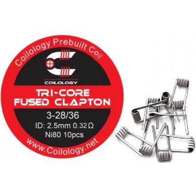 Coilology Tri-Core Fused Clapton předmotané spirálky Ni80 - 0,38 ohm - 10 ks